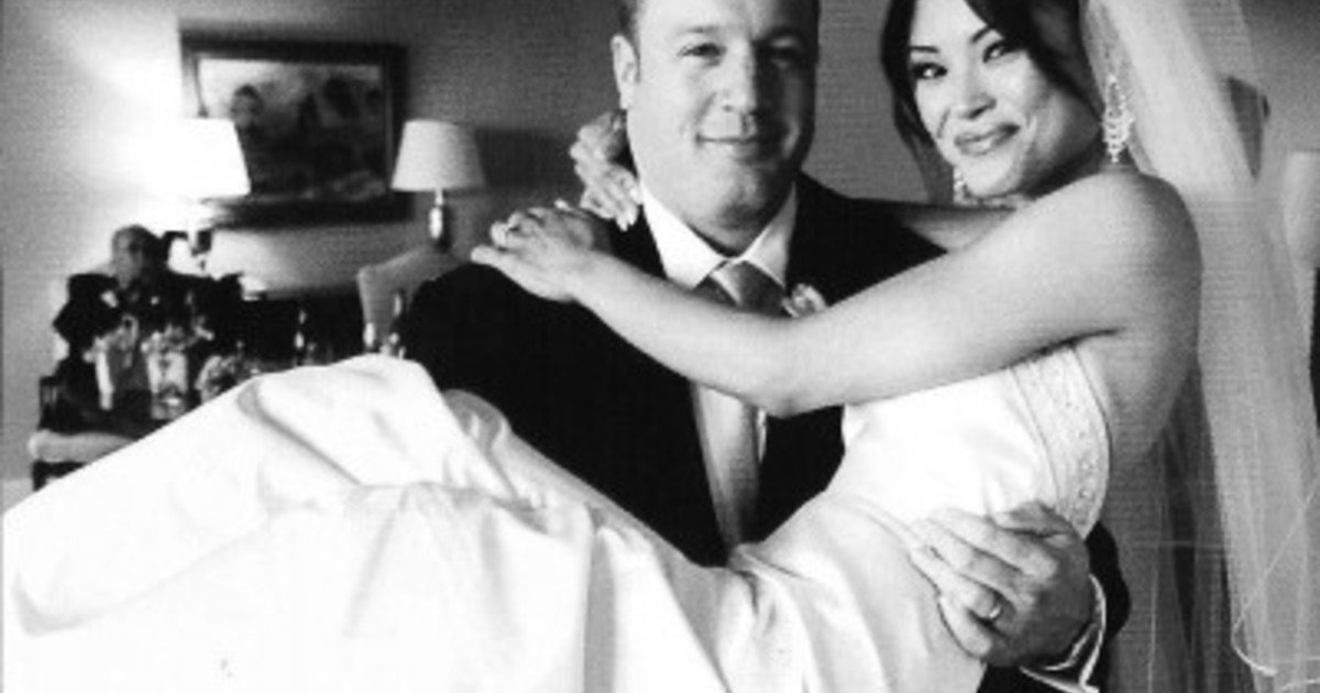Happily married husband and wife: Kevin James and Steffiana at their wedding ceremony